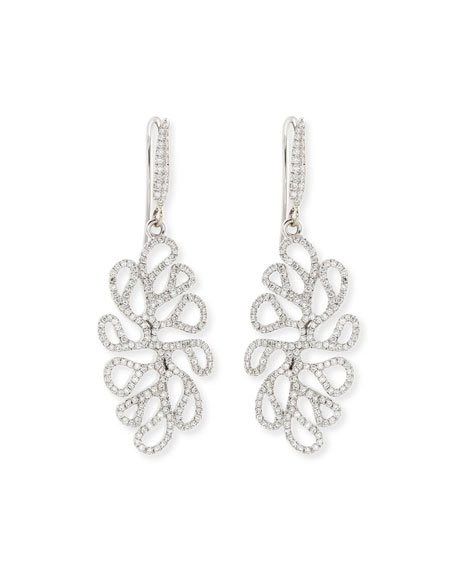 Miseno Sealeaf Collection 18k White Gold Diamond Earrings