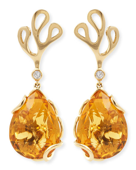 miseno sealeaf collection 18k yellow gold diamond citrine earrings