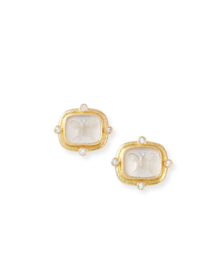 Elizabeth LockeButterfly Intaglio Clip/Post Earrings, Crystal