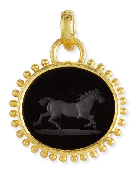 Elizabeth Locke Onyx Running Horse Pendant