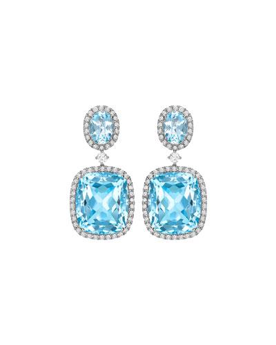 Signature Blue Topaz & Diamond Drop Earrings