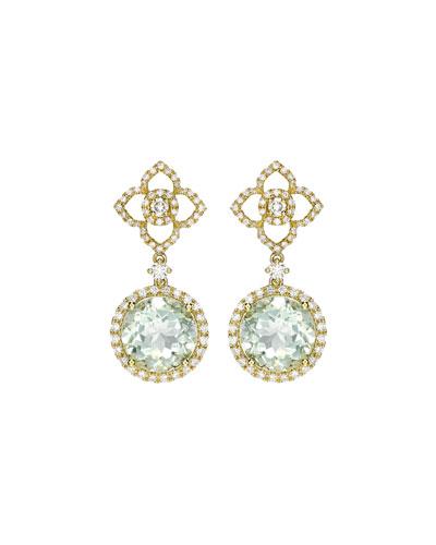 Aurora Green Amethyst & Diamond Drop Earrings