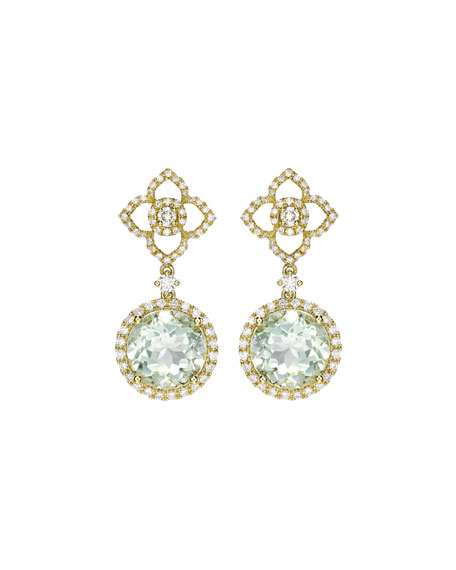 Aurora Green Amethyst & Diamond Drop Earrings
