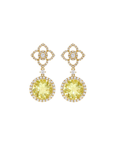 Aurora Lemon Quartz & Diamond Drop Earrings