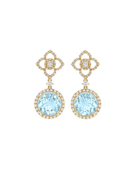 Aurora Blue Topaz & Diamond Drop Earrings