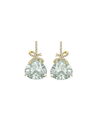 Flowers & Bows Green Amethyst Drop Earrings