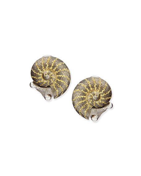 Alex Soldier 18k Diamond Snail Stud Earrings