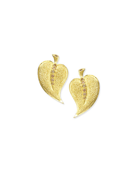 Alex Soldier 18k Champagne Diamond Leaf Stud Earrings