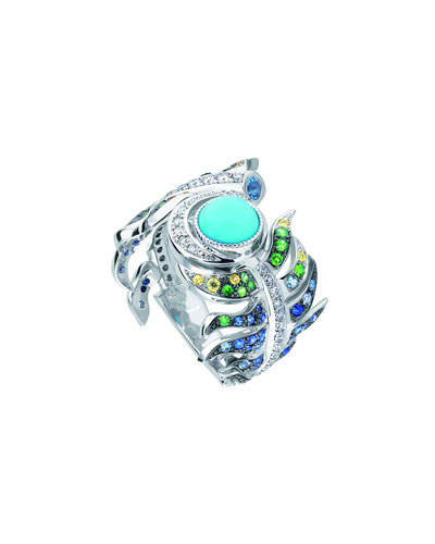 White Gold Peacock Multi-Stone Ring