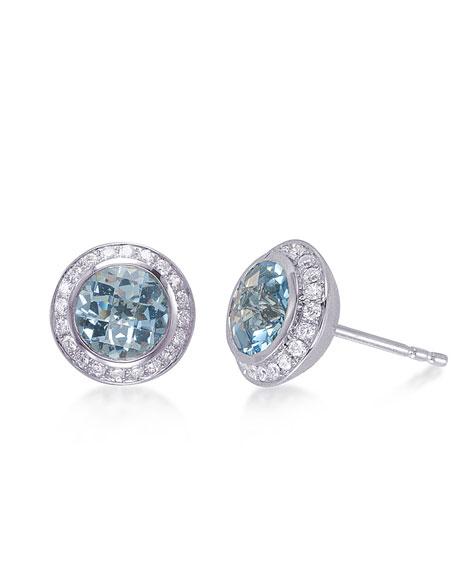 Frederic Sage Aquamarine & Diamond Stud Earrings