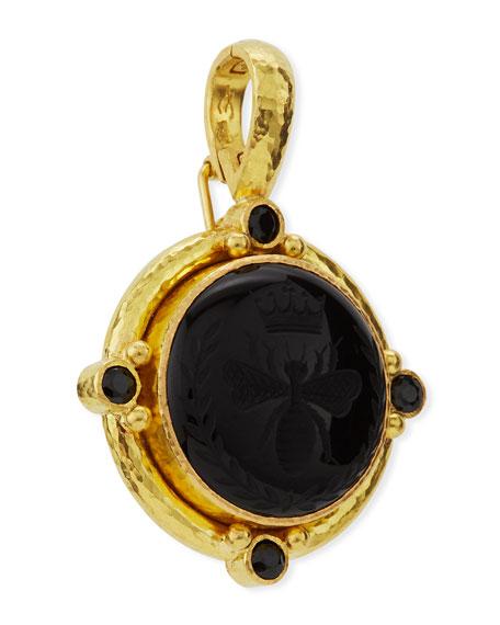 Elizabeth Locke 19k Queen Bee Carved Onyx Pendant