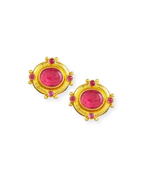 Quadriga Intaglio Clip/Post Earrings, Pink