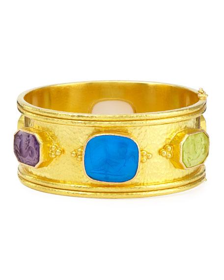 Pastel Cherub Intaglio 19k Gold Bangle