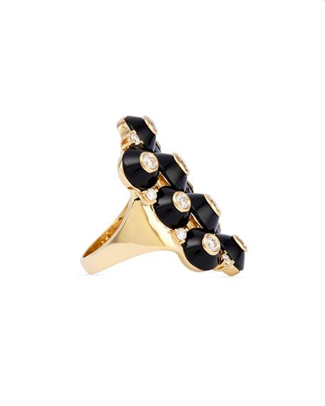 18k Pyramide Onyx & Diamond Cluster Ring