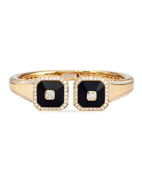 18k Gold Pyramide Onyx & Diamond Bangle