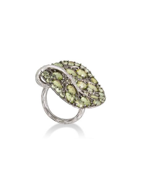 Michael Aram Botanical Leaf Peridot Ring with Diamonds