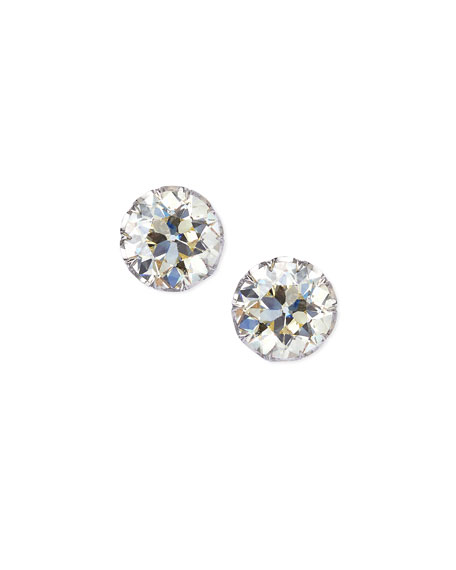 Estate Edwardian Filigree Diamond Solitaire Stud Earrings