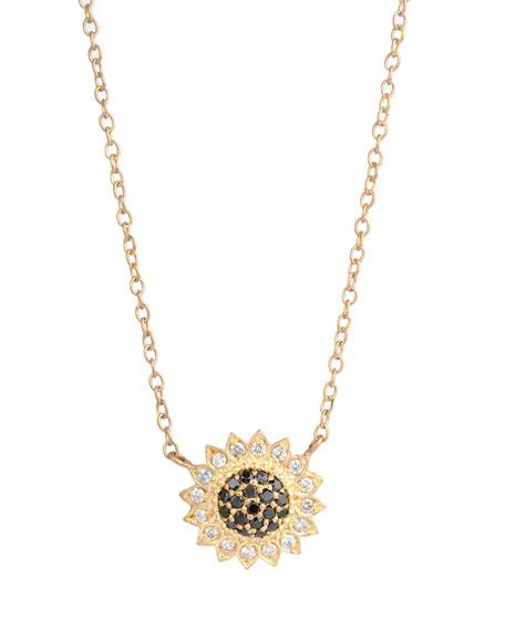 Small Black & White Diamond Sunflower Necklace