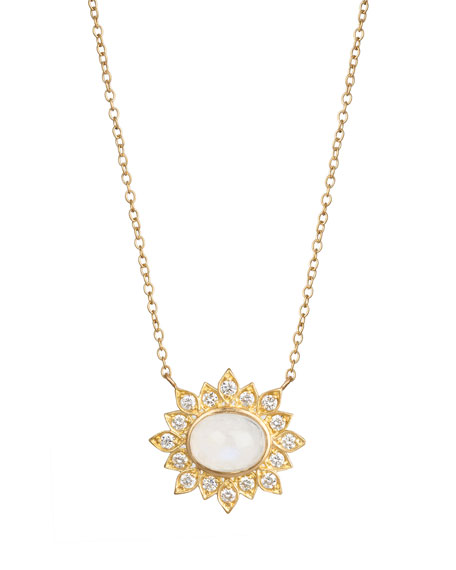 Jamie Wolf Oval Moonstone Diamond Pendant Necklace