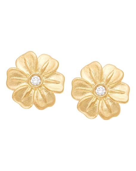 Lilac Stud Earrings with Diamonds