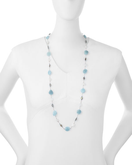 "Aquamarine, Moonstone & Labradorite Long Necklace, 35""L"