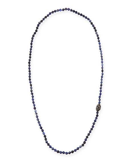 Sodalite Beaded Necklace with Diamonds & Sapphires