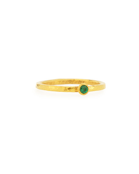 Gurhan Skittle Emerald Stackable Ring, Size 6.5