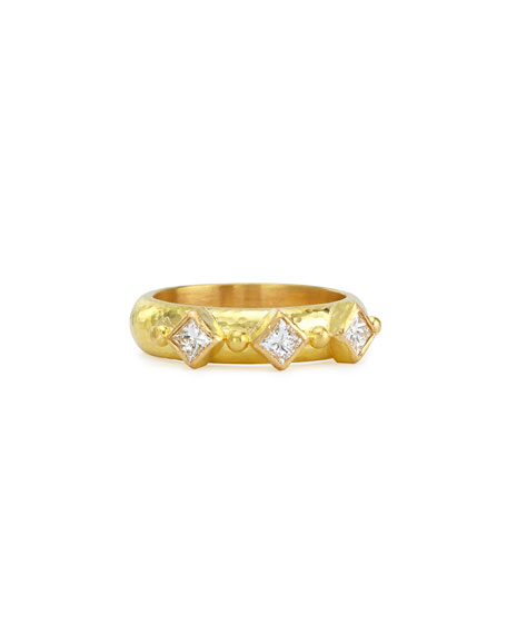 19k Gold & Harlequin Diamond Stack Ring