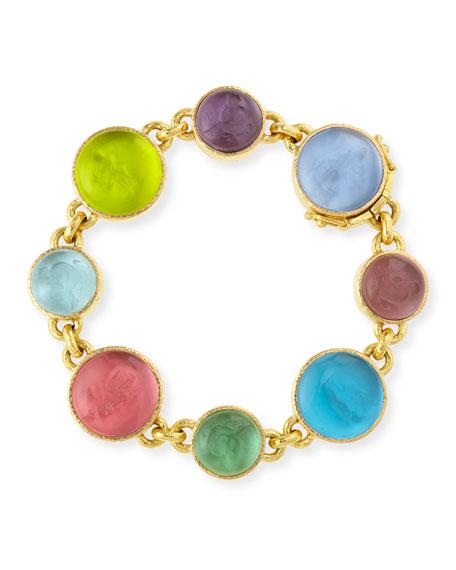19k Gold Pastel Intaglio Link Bracelet