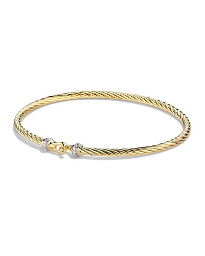 Cable Collectibles Buckle Bracelet with Diamonds in Gold