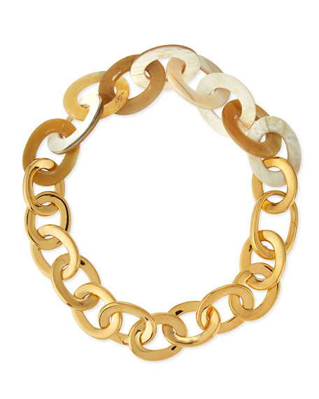 18k Yellow Gold & Natural Horn Link Necklace