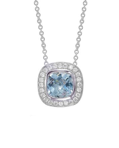 Mini Rosetta Aquamarine & Diamond Pendant Necklace