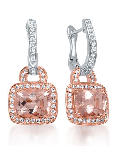 Roma Morganite & Diamond Drop Earrings