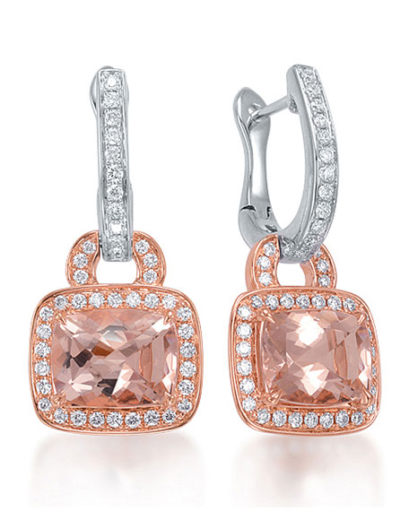 Frederic Sage Roma Morganite & Diamond Drop Earrings