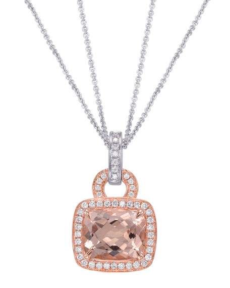 Roma Morganite & Diamond Pendant Necklace