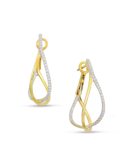 18k 2-Tone Diamond Crossover Hoop Earrings