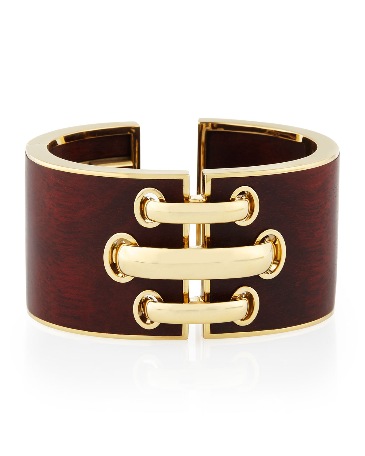 David Webb 18k Gold Bloodwood Shoelace Cuff Bracelet