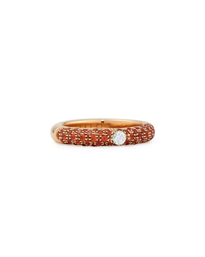 Pop Collection Orange and Diamond Band Ring