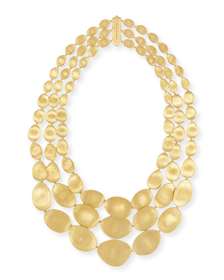 Marco Bicego Lunaria 18k Gold Three-Strand Necklace