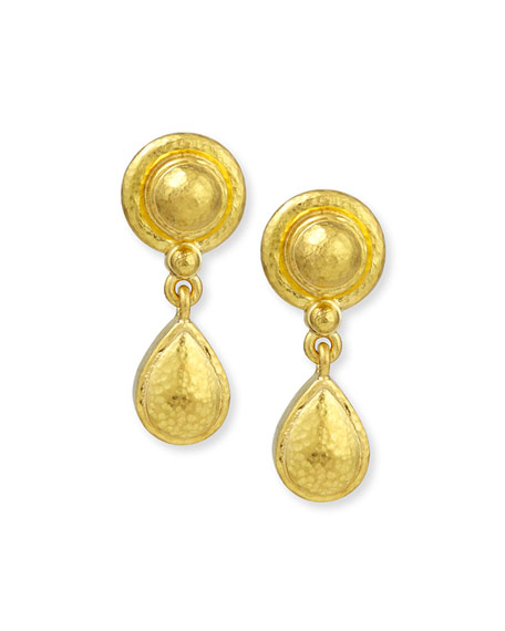 19k Gold Dome & Pear Drop Earrings