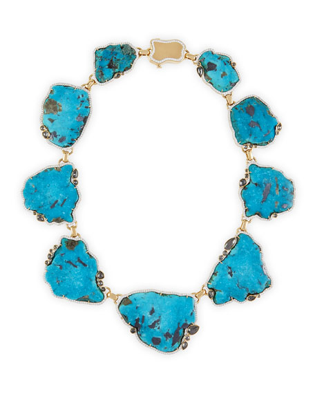 Pamela Huizenga 18k Gold Turquoise Necklace with Diamonds