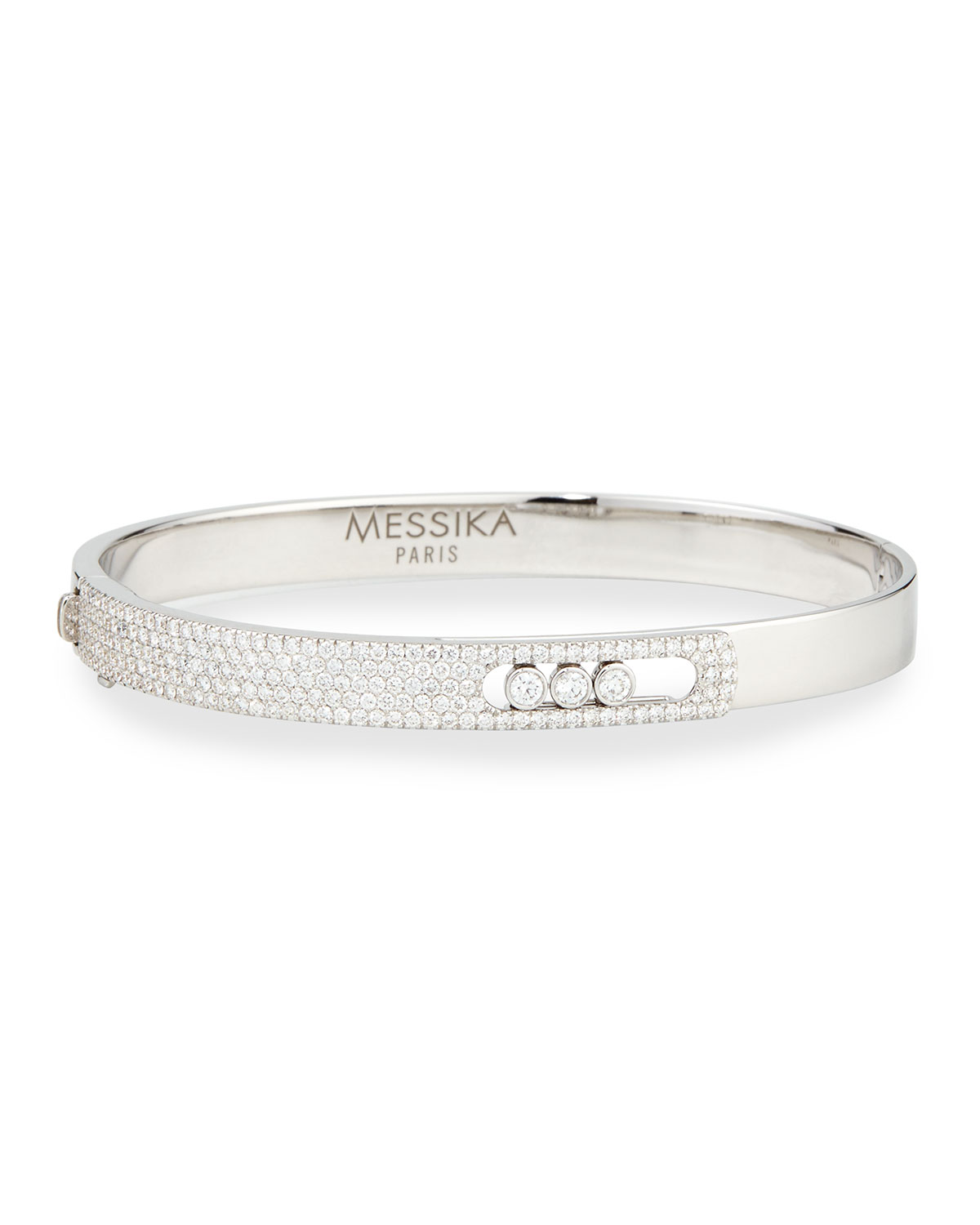 Messika 18k White Gold Small Pave Diamond Bangle COleaLFJVx
