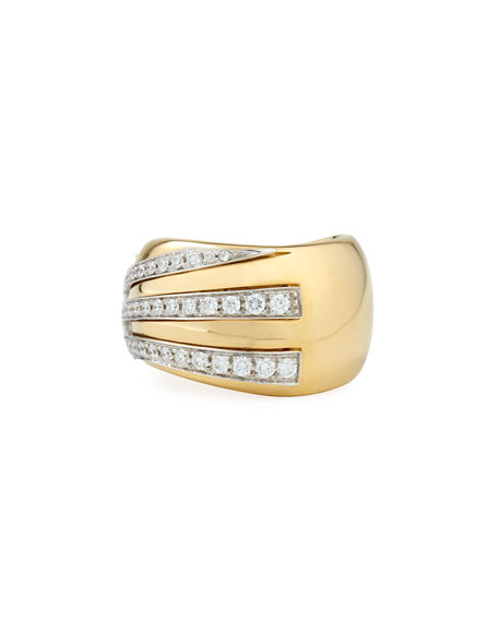 Miseno 18k Gold Sun Ray Ring with Diamonds, Size 6.5