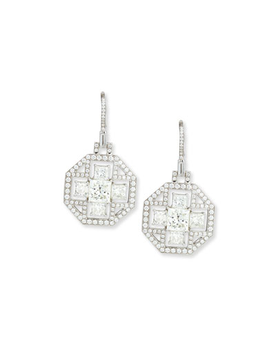 Bespoke Princess-Cut Diamond Octagon Earrings