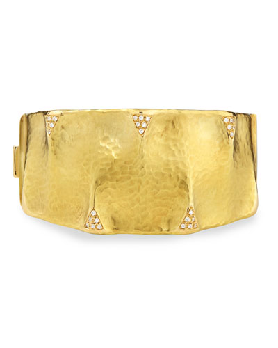 VENDORAFA DUNE 18K GOLD AND DIAMOND CUFF BRACELET