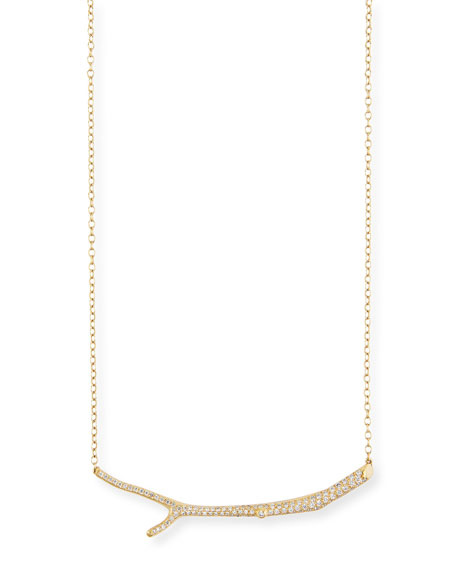 Mimi So Wonderland 18k Yellow Gold Diamond Twig Necklace