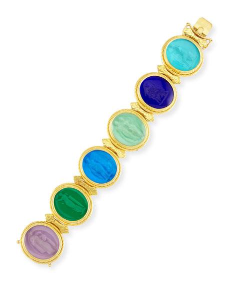 19k Large Oval Venetian Glass Bracelet