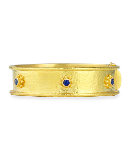 19k Gold Bangle Bracelet with Blue Sapphires