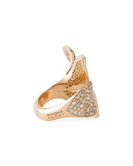 Giardini Segreti 18k Rose Gold Diamond Leaf Ring, 4.35 cts.