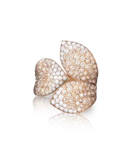 Giardini Segreti 18k Rose Gold Diamond Leaf Ring, 2.35 cts.